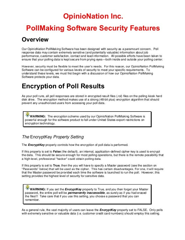 OpinioNation Inc PollMaking Software Security Features 2017