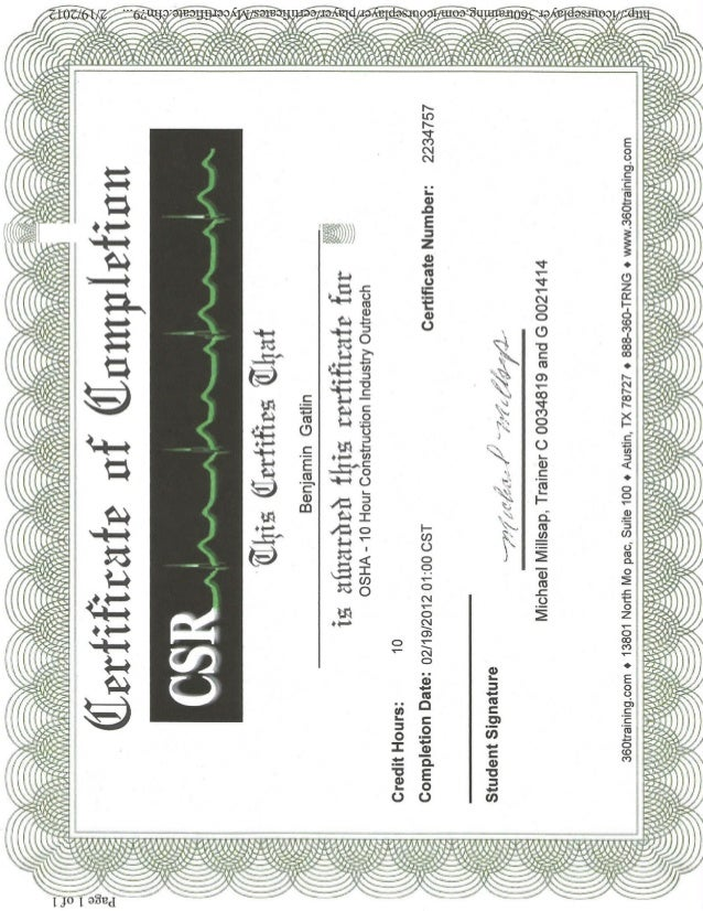 Ben Gatlin Sr. 10hr Osha Certifications