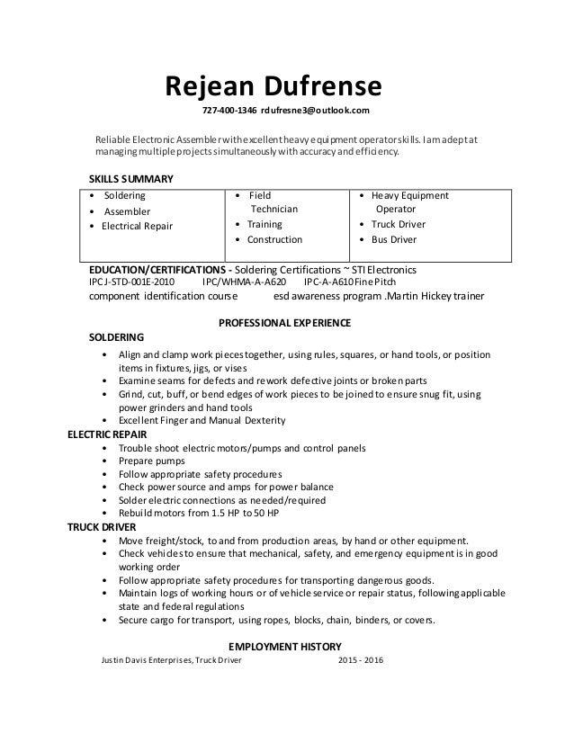 rejean dufresne soldering resume 2016