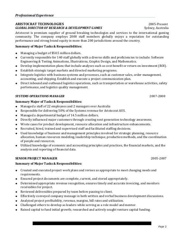 Executive Resume Sample 2