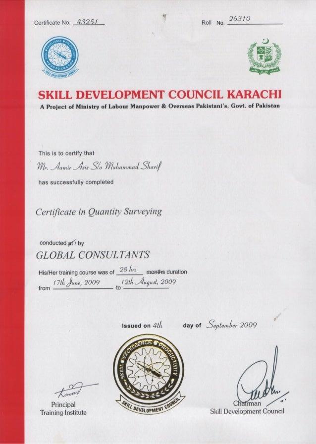 certificate quantity surveying slideshare upcoming