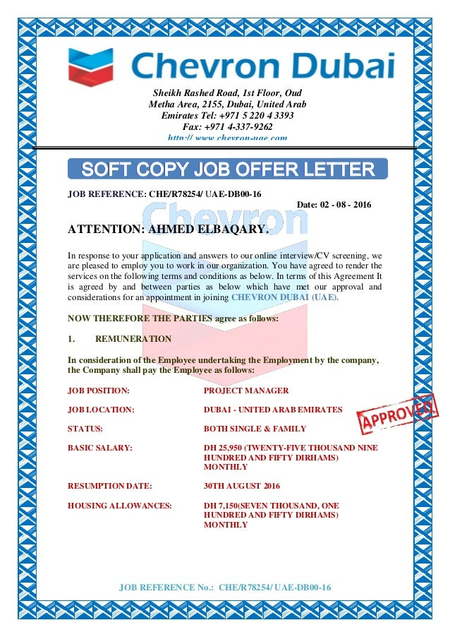 CHEVRON CONTRACT APPOINTMENT LETTER. JOB REFERENCE No.: CHE/R78254/  UAE DB00 16 JOB REFERENCE ...