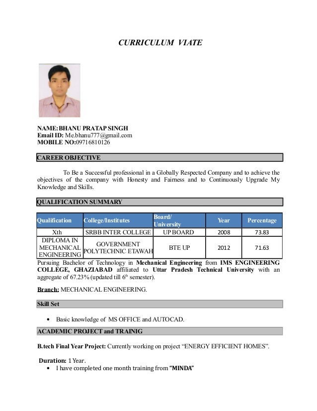 fresher resume format for mechanical engineers