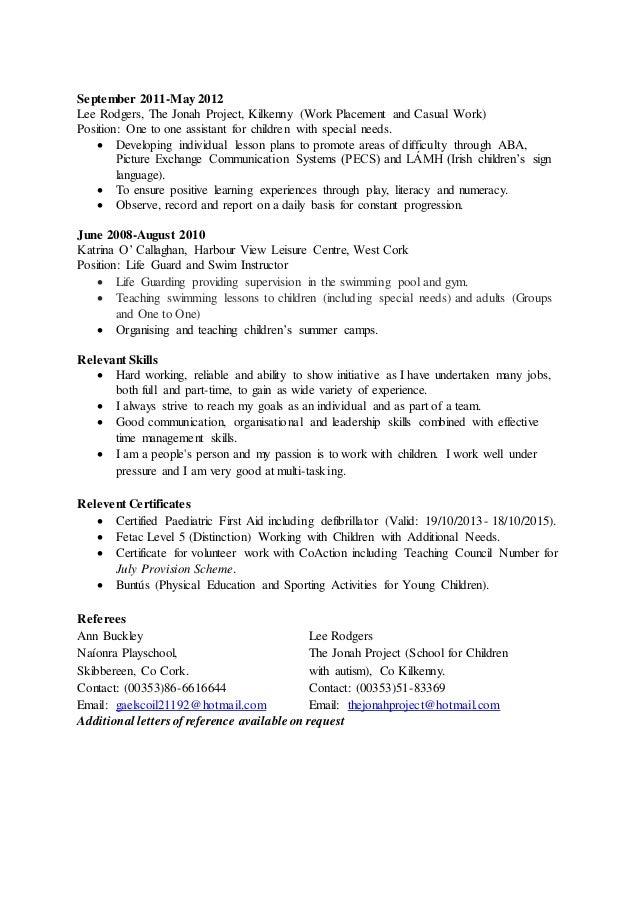 Childcare Resume