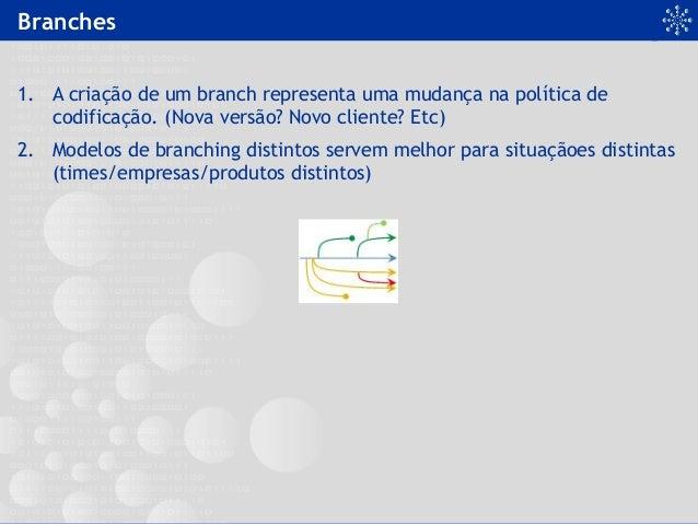 Branches 1. A criação de um branch representa uma mudança na política de codificação. (Nova versão? Novo cliente? Etc) 2....