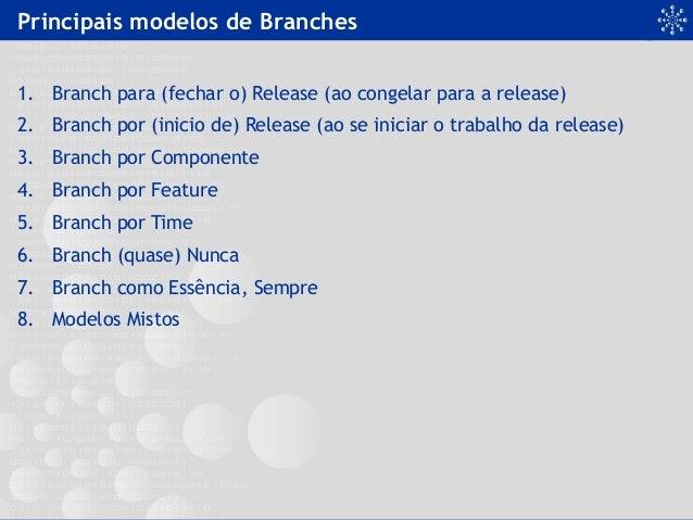 Principais modelos de Branches 1. Branch para (fechar o) Release (ao congelar para a release) 2. Branch por (inicio de) ...