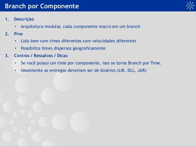 Branch por Componente 1. Descrição • Arquitetura modular, cada componente macro em um branch 2. Pros • Lida bem com ti...