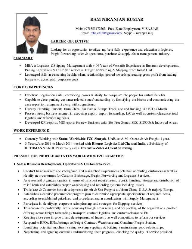 freight forwarding resume