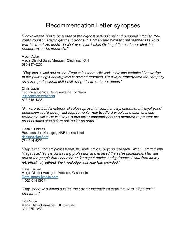 recommendation letter summaries 2102016