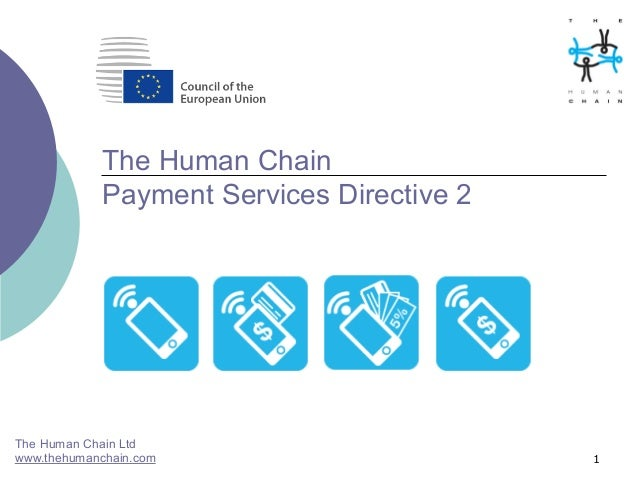 1 The Human Chain Payment Services Directive 2 The Human Chain Ltd www.thehumanchain.com