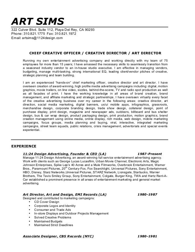 art director resume director resume director resume sample directeur artis 14249 | art sims resume creative director 1 638