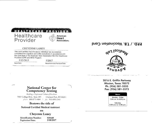 Tb Cpr And Certification Cards