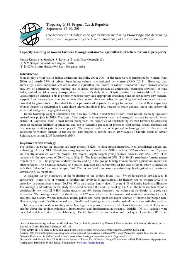 """Tropentag 2014, Prague, Czech Republic September 17-19, 2014 Conference on """"Bridging the gap between increasing knowledge ..."""