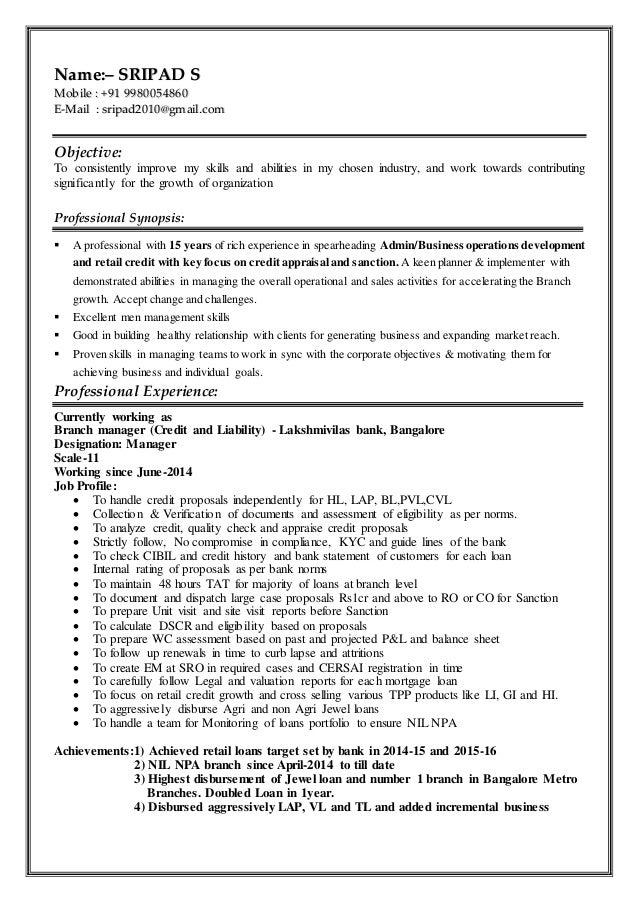 bank resume