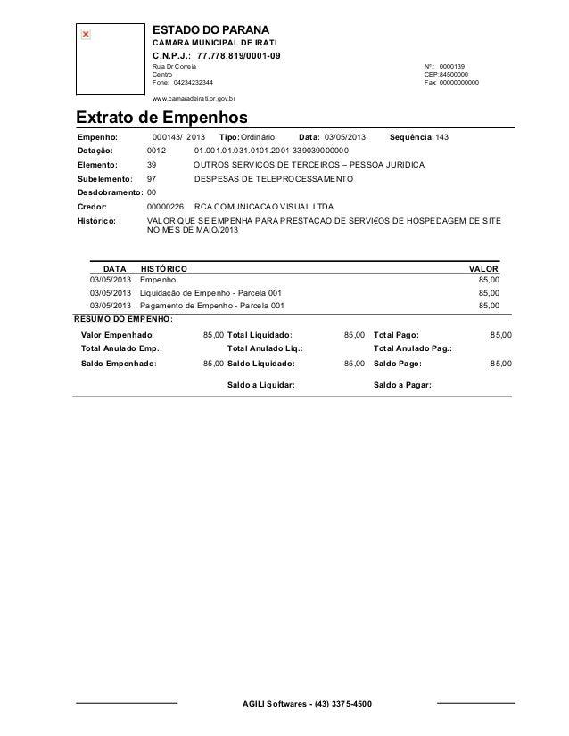 ESTADO DO PARANA CAMARA MUNICIPAL DE IRATI C.N.P.J.: 77.778.819/0001-09 Rua Dr Correia 0000139 Centro 04234232344 00000000...