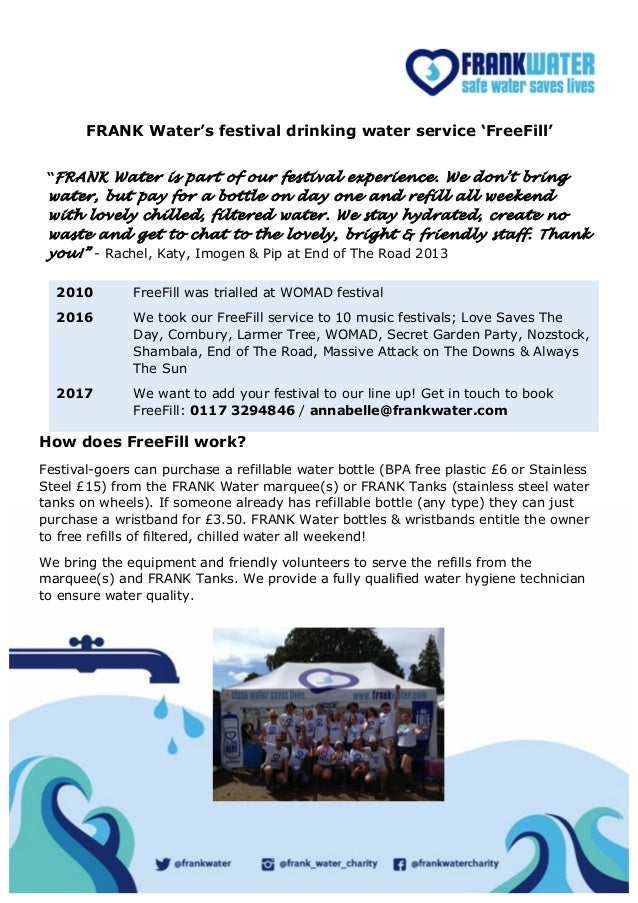 FRANK Water's FreeFill service for music festivals 2017