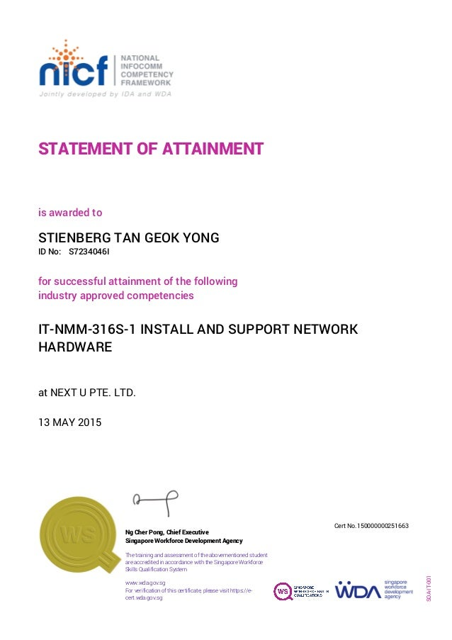 STATEMENT OF ATTAINMENT ID No: IT-NMM-316S-1 INSTALL AND SUPPORT NETWORK HARDWARE for successful attainment of the followi...