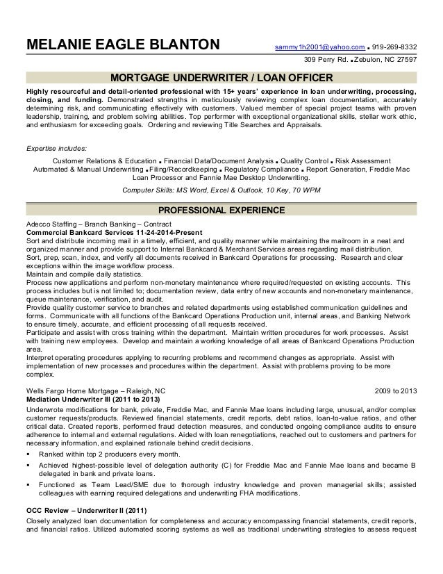 Mortgage underwriter resume