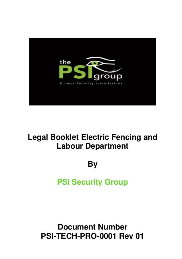 PSI-TECH-PRO-0001 Rev 01 Legal Booklet Electric Fencing and