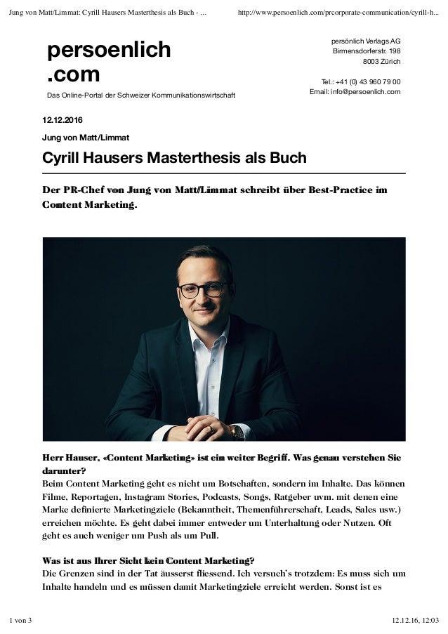 persoenlich .com Das Online-Portal der Schweizer Kommunikationswirtschaft persönlich Verlags AG Birmensdorferstr. 198 8003...