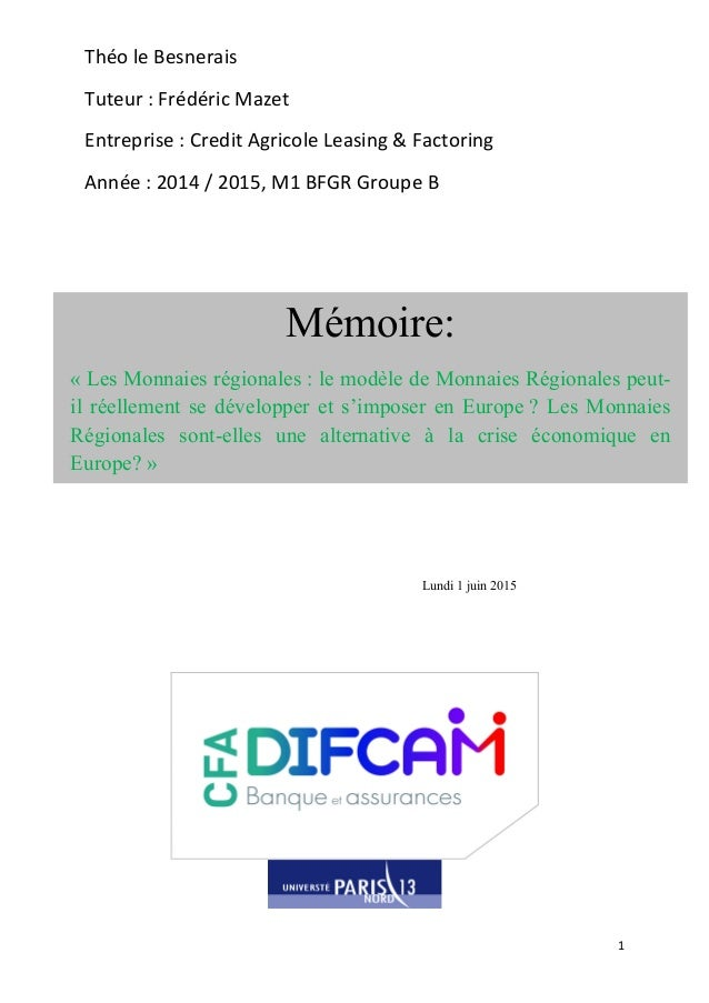 1      Théo  le  Besnerais      Tuteur  :  Frédéric  Mazet   Entreprise  :  Credit  Agricole  ...