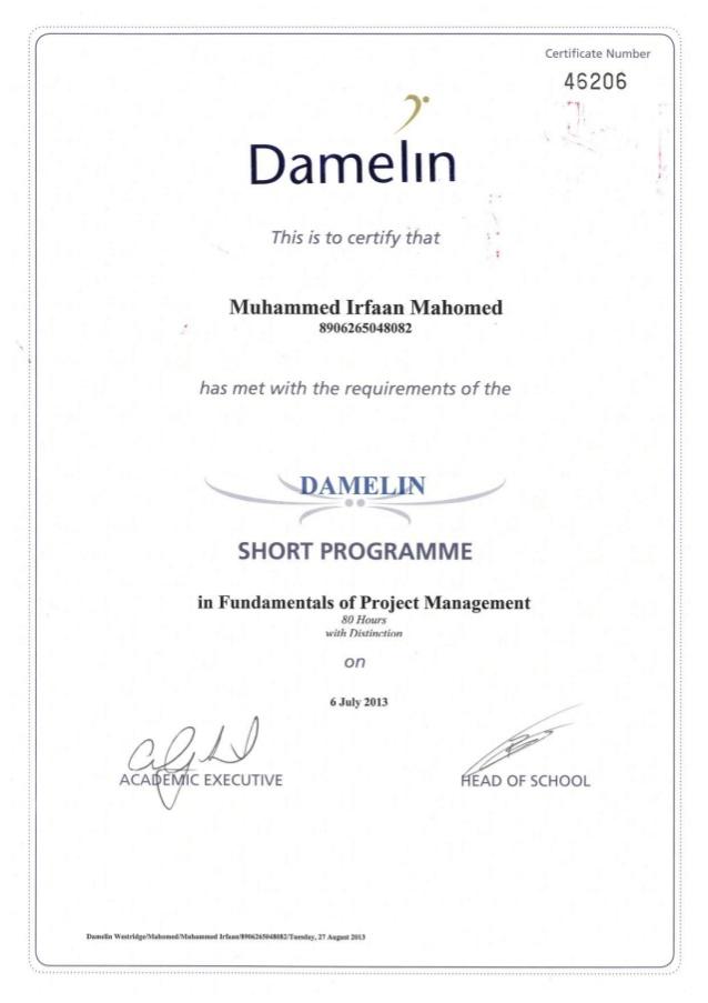 Damelin Certificate 1