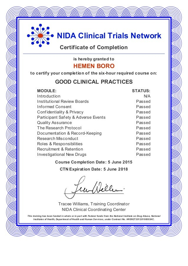 gcp certification from NIDA,USA