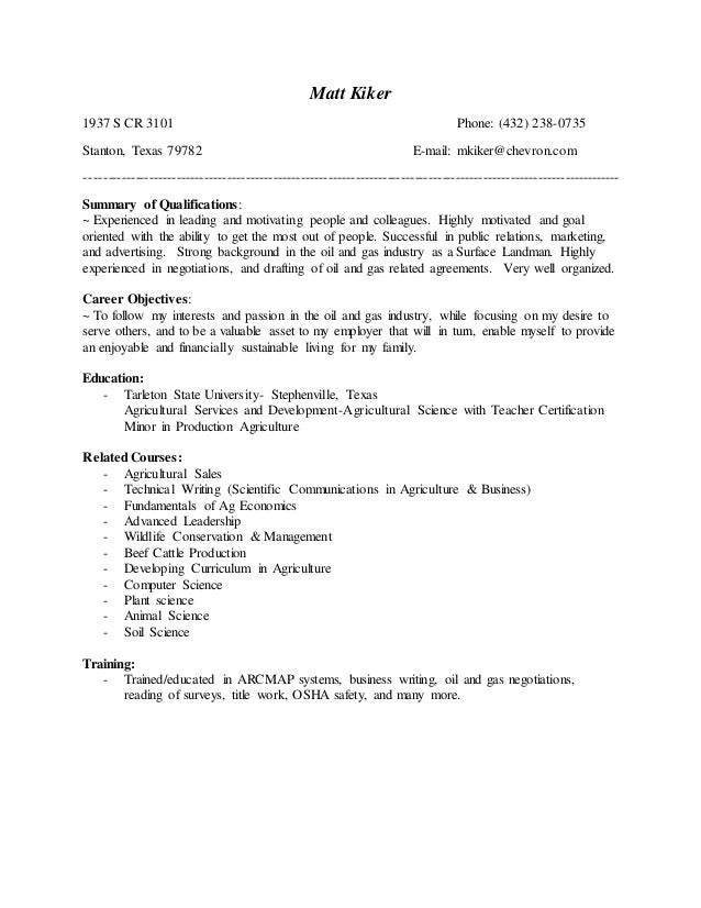 Matt Kiker 2017 Resume For Oil and Gas 11 17 16