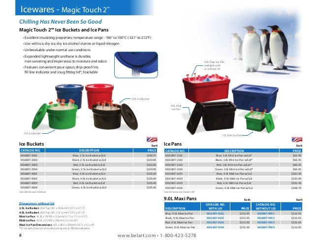 with Lid M16807-2003 Bel-Art Magic Touch 2 High Performance Red Ice Bucket; 2.5 Liter