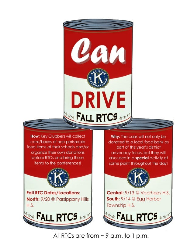 How Key Clubbers Will Collect Cans Boxes Of Non Perishable Food Items At