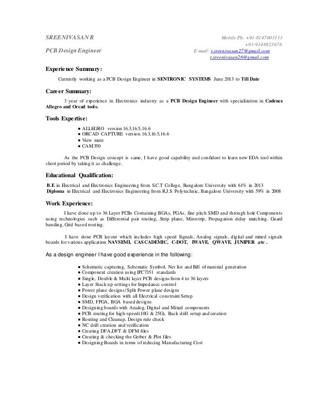 pcb design engineer resume format - Sample Resume Pcb Design Engineer