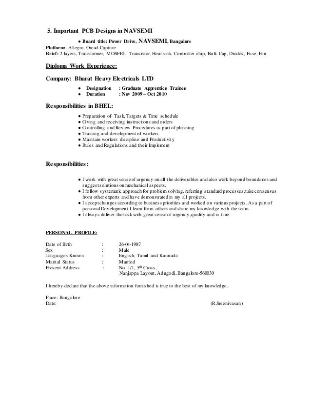 SlideShare  Layout For A Resume