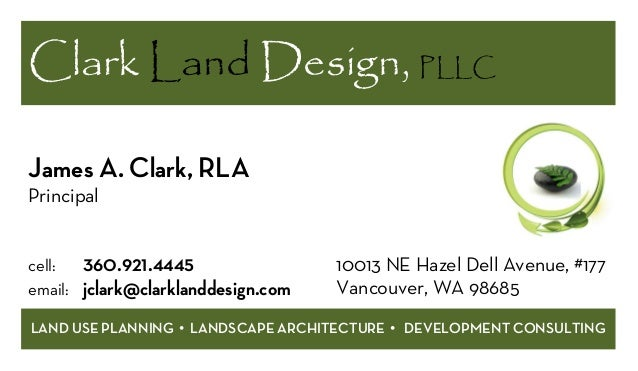 Business card 0505153 business card 0505153 clark land design pllc land use planning landscape architecture development consulting james a reheart Image collections