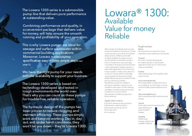 18b6bf65b53a31 ... 2. 2 3 The Lowara 1300 series is a submersible pump line that delivers  ...