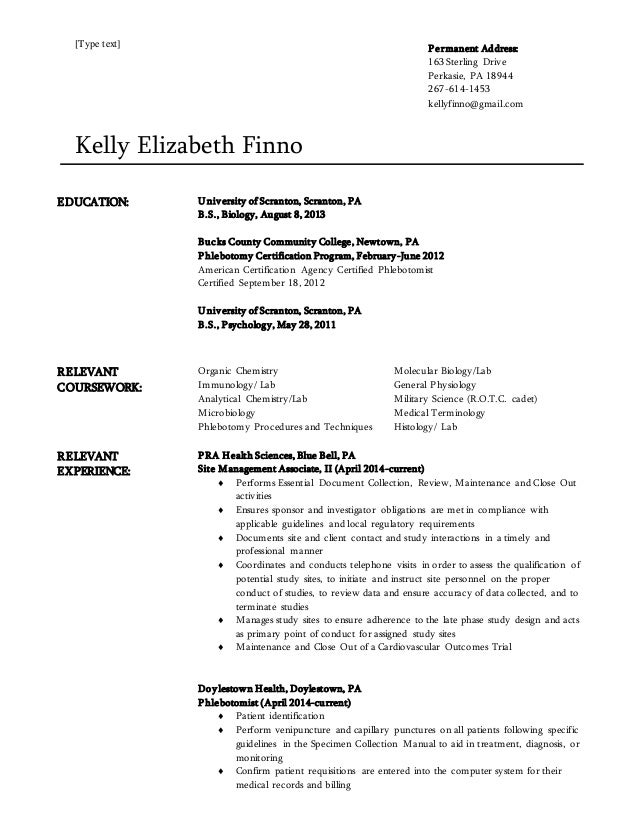 [Type Text] Kelly Elizabeth Finno EDUCATION: University Of Scranton,  Scranton, ...  Biology Resume