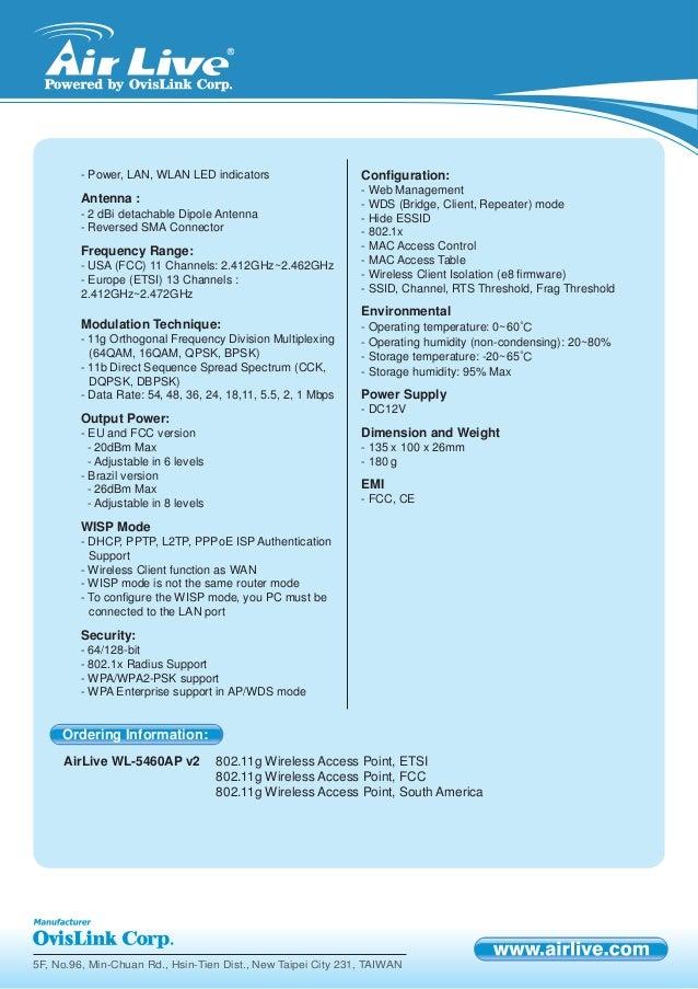 Air live wl-5460ap-v2_specsheet