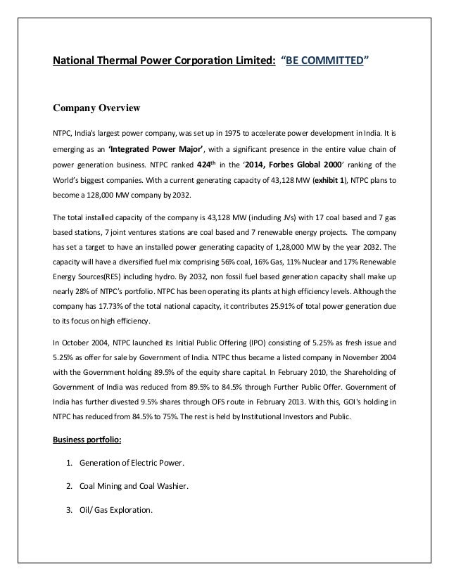 National thermal power corporation limited report