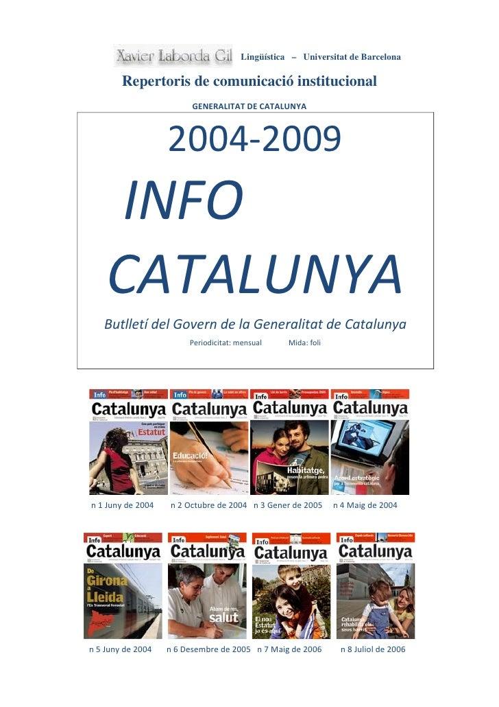 Lingüística – Universitat de Barcelona          Repertoris de comunicació institucional                          GENERALIT...