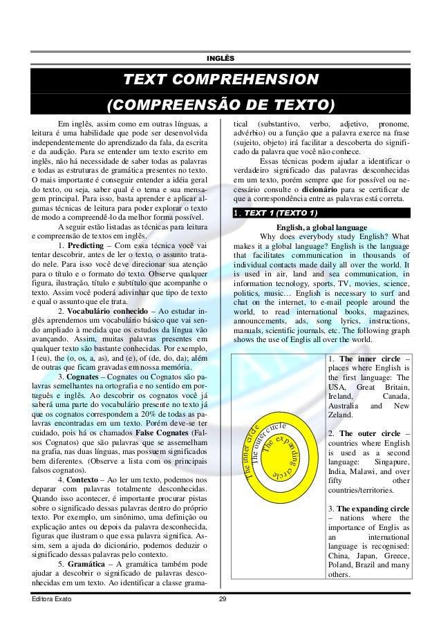INGLÊS Editora Exato 29 TEXT COMPREHENSION (COMPREENSÃO DE TEXTO) Em inglês, assim como em outras línguas, a leitura é uma...