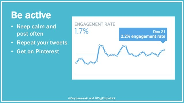 Be active • Keep calm and post often • Repeat your tweets • Get on Pinterest @GuyKawasaki and @PegFitzpatrick