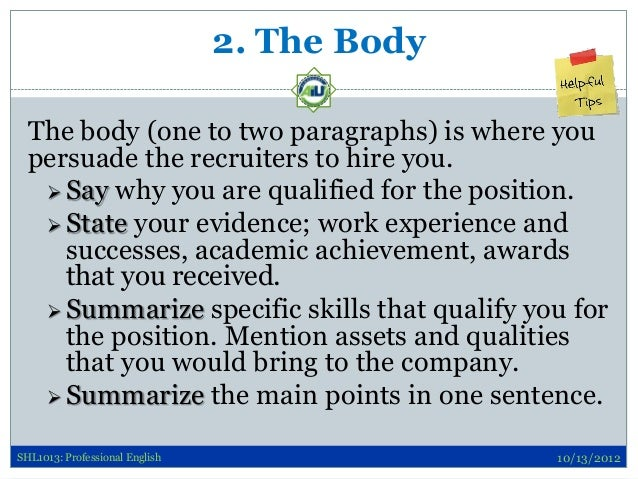 cover letter body