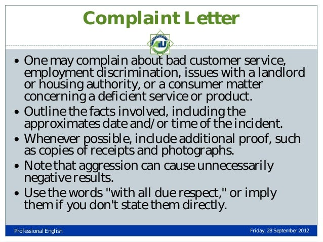 Types of business letters complaint letter one may complain about bad customer service altavistaventures Images
