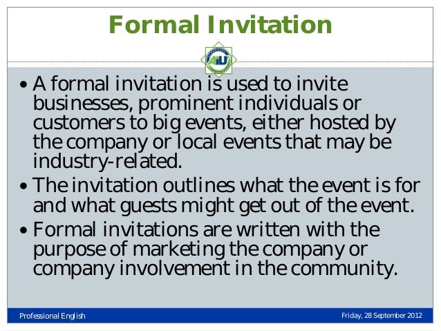 Types of business letters professional english friday 28 september 2012 35 formal invitation stopboris Image collections