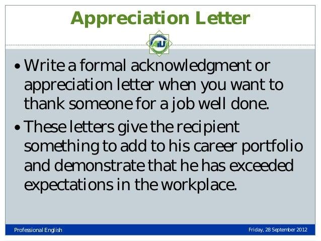 Appreciation Letter ...