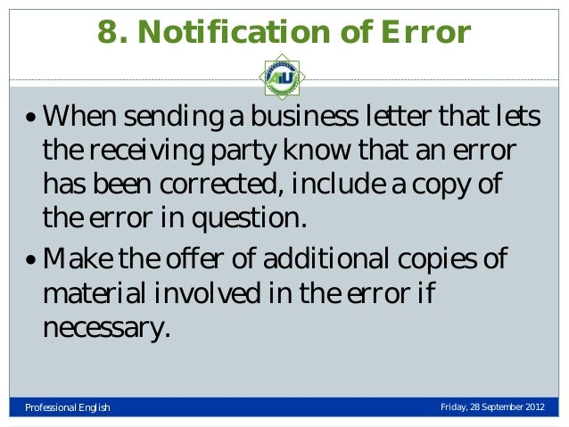 Types of business letters professional english friday 28 september 2012 42 8 notification of error spiritdancerdesigns Choice Image