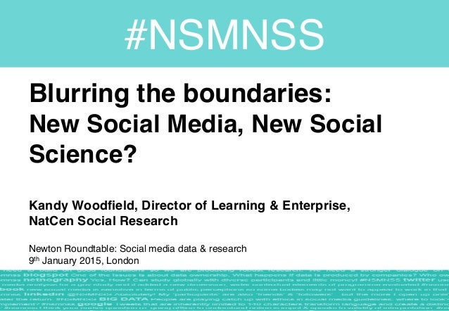 Blurring the boundaries:  New Social Media, New Social Science?  Kandy Woodfield, Director of Learning & Enterprise,  ...