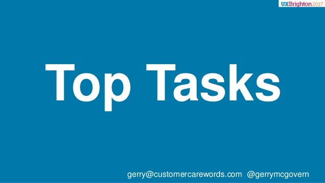 Top Tasks gerry@customercarewords.com @gerrymcgovern