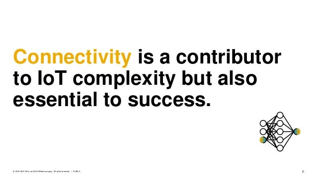 2PUBLIC© 2018 SAP SE or an SAP affiliate company. All rights reserved. ǀ Connectivity is a contributor to IoT complexity b...