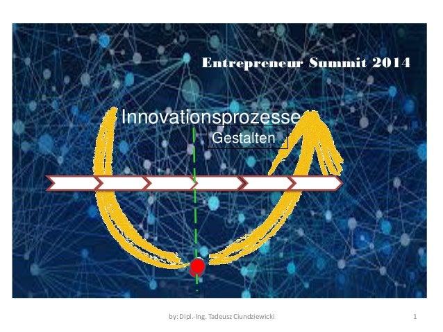 Innovationsprozesse  by: Dipl.-Ing. Tadeusz Ciundziewicki  1  Gestalten  Entrepreneur Summit 2014