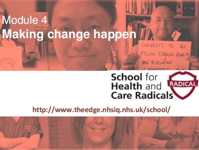 #SHCR @School4Radicals Module 4 Making change happen Supported by: http://www.theedge.nhsiq.nhs.uk/school/ Module